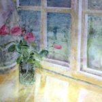 roses on windowsill