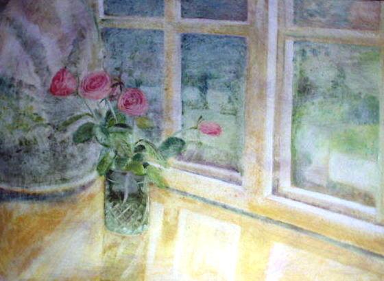 roses on windowsill