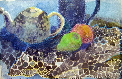 teapot and pear watercolour